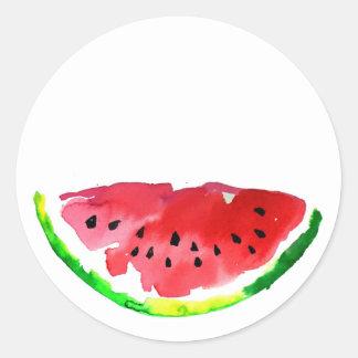 Summer Watercolor Watermelon Classic Round Sticker