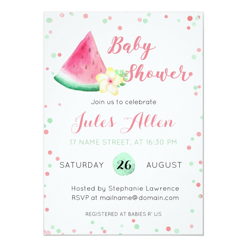 Summer watermelon baby shower invitation