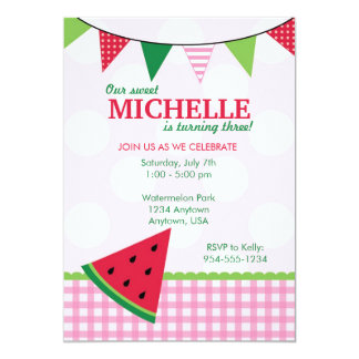 Summer Watermelon Birthday Invitation