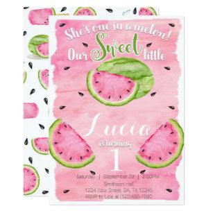 Watermelon Birthday Invitations Announcements Zazzle