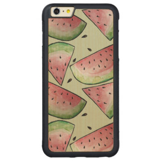 Summer Watermelon Pattern Carved® Maple iPhone 6 Plus Bumper