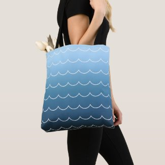 Summer Wave Pattern Light Blue to Navy Gradient Tote Bag