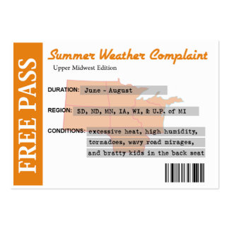 Summer Weather Complaint Free Pass Large Business Card