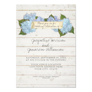 Summer Wedding BOHO Shiplap Wooden Board Hydrangea Card