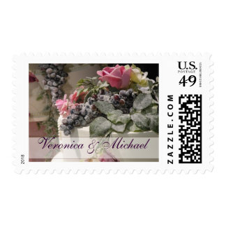 Summer wedding cake with flowers postage stamp