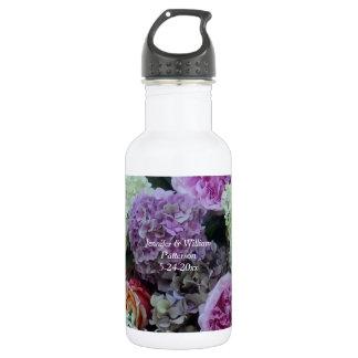 Summer Wedding Flower Hydrangea Peony Favor Custom Water Bottle