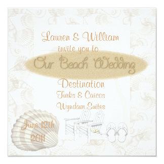 "Summer Wedding Invitations With Shells & Sand Temp 5.25"" Square Invitation Card"