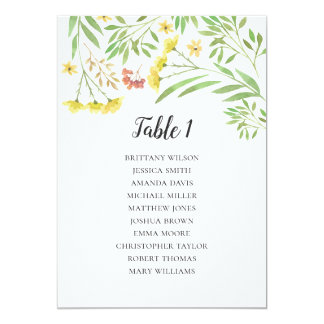 Summer wedding seating chart. Floral table plan Card