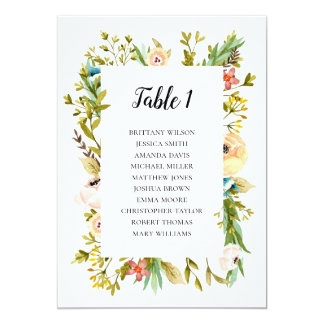Summer wedding seating chart. Flowers table plan Card