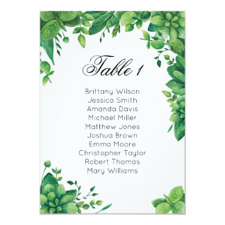 Summer wedding seating chart. Garden guest plan Card