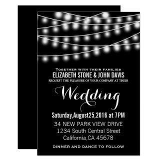 Summer Wedding String Lights Black Design Invitation