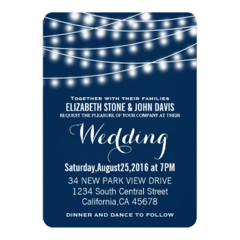 Summer Wedding String Lights Design Card by HasCreations at Zazzle