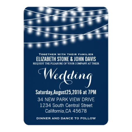 Summer Wedding String Lights Design Card