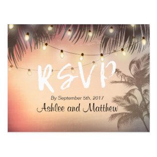 Summer Wedding String Lights Palm Tree RSVP Reply Postcard