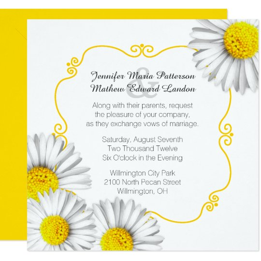 White Daisy Wedding Invitation: Summer White Daisies Wedding Invitation