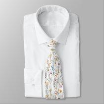 Summer Wildflower Pattern Neck Tie