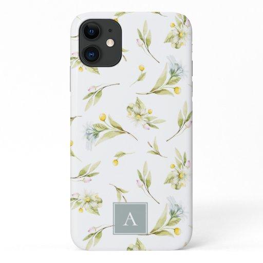 Summer Wildflower Watercolor Pattern Monogram iPhone 11 Case
