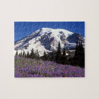 summer wildflowers at the base of Mount Rainier, 2 Jigsaw Puzzle