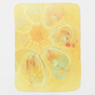 SUMMER WINDS Cheerful Whirlwind Flowers Yellow Baby Blanket