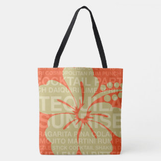 Summer Words Cocktails and Hibiscus Beach Bag
