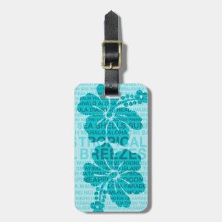 Summer Words Hawaiian Hibiscus Luggage Tags