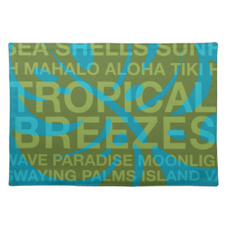 Summer Words Tropical and Monstera Leaf Placemats