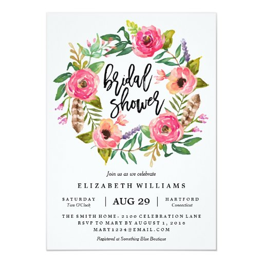 Summer Wreath Bridal Shower Invitation