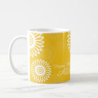 Summer Yellow flowers Happy Birthday Name Mug