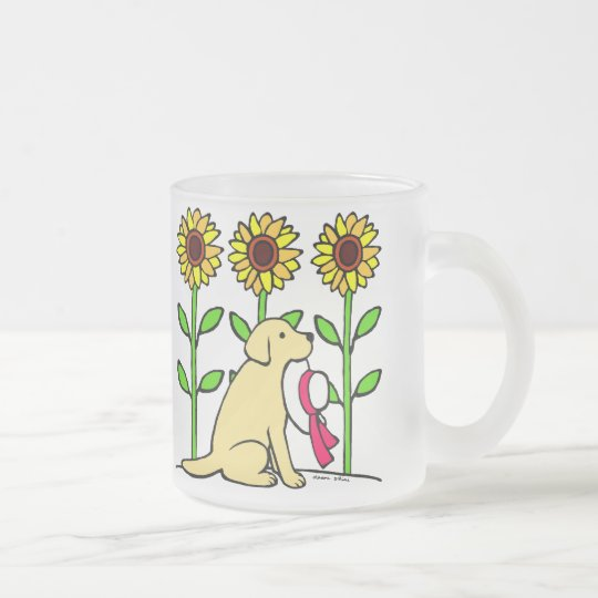 Summer Yellow Labrador with Sunflowers Frosted Glass Coffee Mug