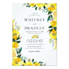 Summer Yellow Lemon Floral Wedding Invitation