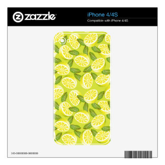 Summer Yellow Lemon Slices and leaves on yellow Decal For iPhone 4