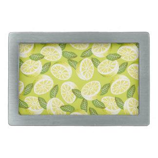 Summer Yellow Lemon Slices and leaves on yellow Rectangular Belt Buckle