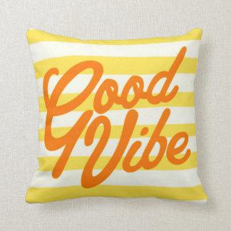 Summer Yellow Stripe Good Vibe Typography Pillow