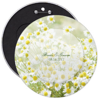 Summerfield Daisies Camomile Flower Floral Wedding Pinback Button