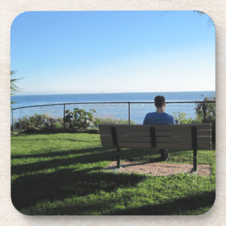 Summerland: Man Contemplates Ocean Beverage Coaster