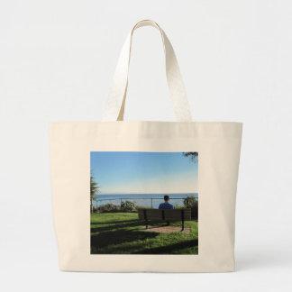 Summerland: Man Contemplates Ocean Large Tote Bag