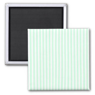 SummerMint Pale Green Mint & White Stripe 2 Inch Square Magnet