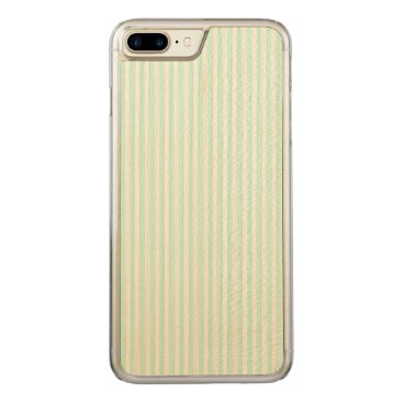 Beach Themed SummerMint Pale Green Mint & White Stripe Carved iPhone 7 Plus Case