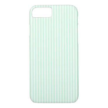 Beach Themed SummerMint Pale Green Mint & White Stripe iPhone 7 Case