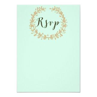 SummerMint Pale Green Mint Wreath & Sprig Wedding Card