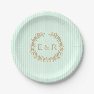 SummerMint Pale Green Mint Wreath & Sprig Wedding Paper Plate