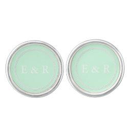 Summermint Pastel Green Mint Wedding Cufflinks