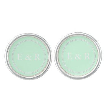 Beach Themed Summermint Pastel Green Mint Wedding Cufflinks