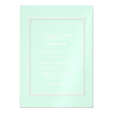 Beach Themed Summermint Pastel Green Mint Wedding Magnetic Card