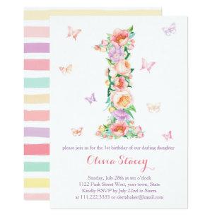 Summertime 1st Birthday With Pastel Butterflies Invitation