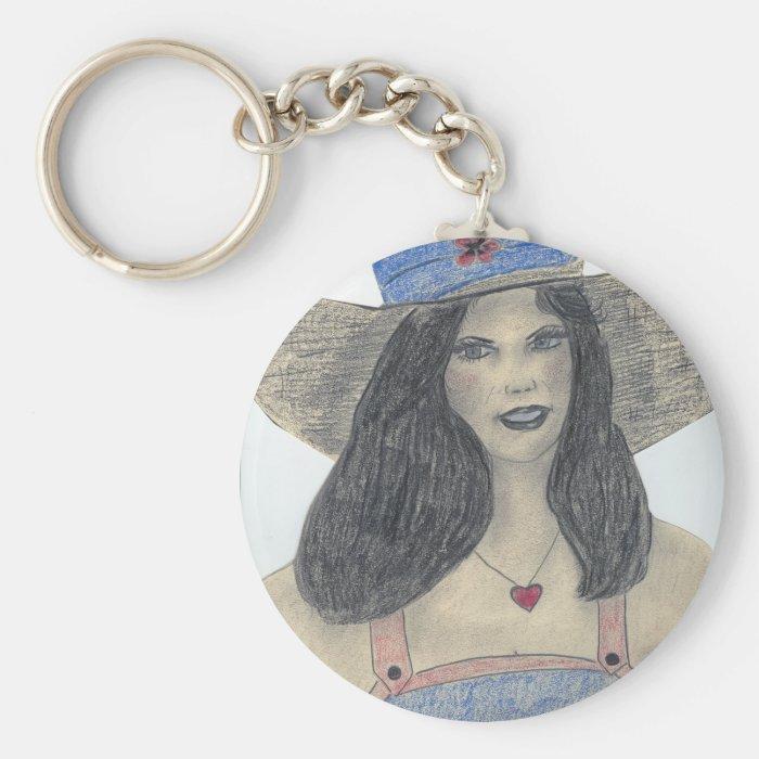 Summertime 70's Retro Girl Keychain