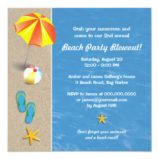 Summertime at the Beach Party Invitation