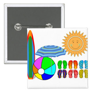 Summertime Beach Party 2 Inch Square Button