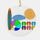 Summertime Beach Party Double-Sided Ceramic Round Christmas Ornament