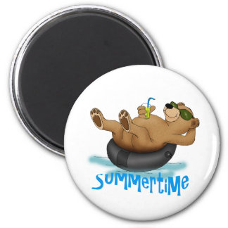 Summertime Bear 2 Inch Round Magnet